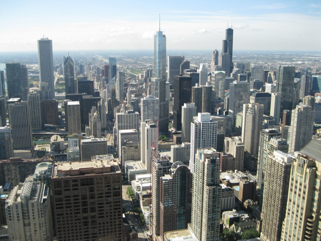 The view of the Downtown Chicago Skyline from the John Hancock Center