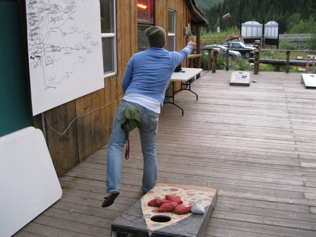 Playing Cornhole at the Panorama Pizza Pub just outside Denali National Park