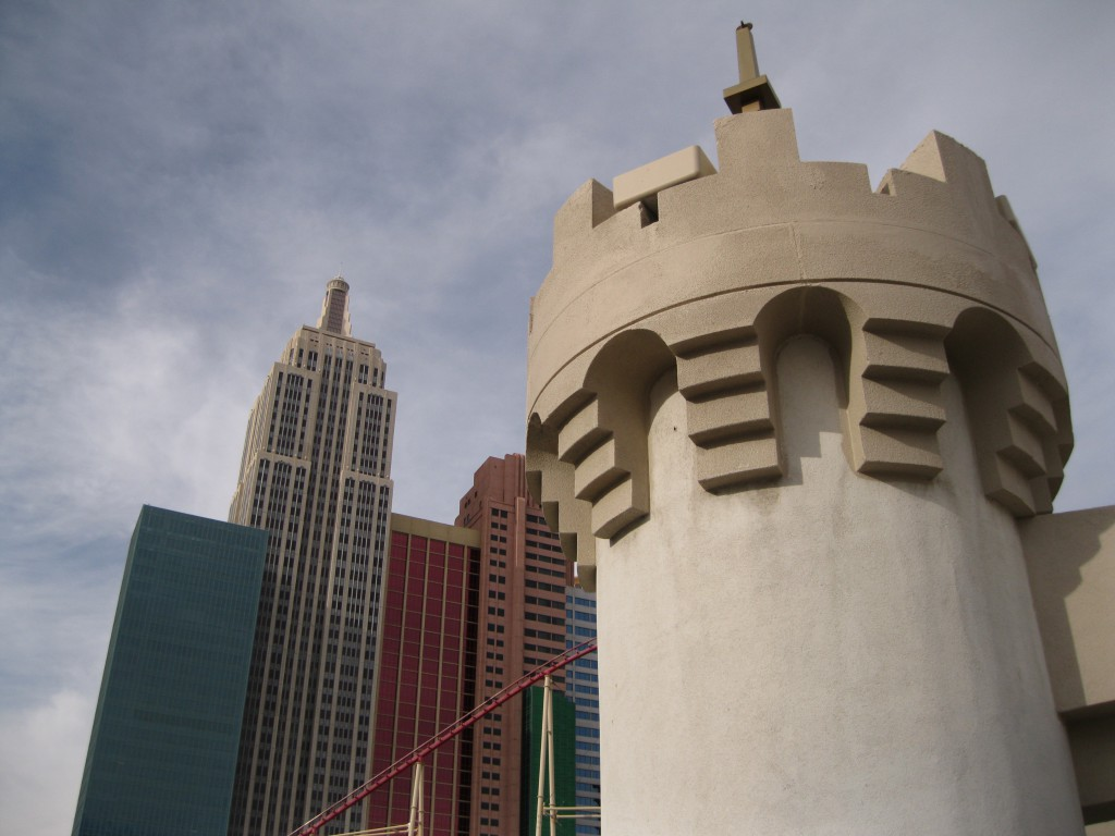 A Tower from the Excalibur and New York New York in the background