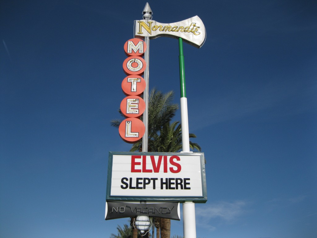 The old Normandie Motel sign from the Urban Gallery of the Neon Museum
