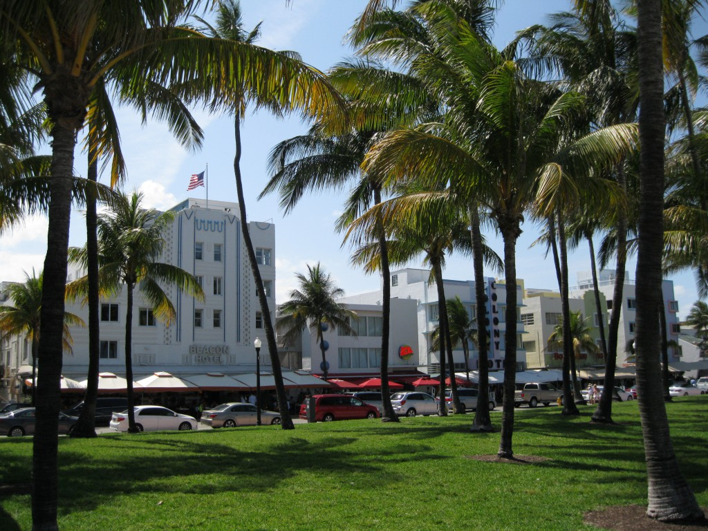 View of the Beacon Hotel and the Colony Hotel at Ocean Drive from Lummus Park