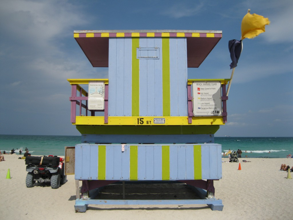 Lifeguards Stand at 15th Street, South Beach