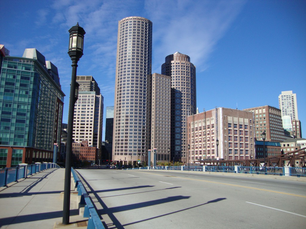 One & Two International Place in the Financial District Skyline from the Seaport Boulevard Bridge