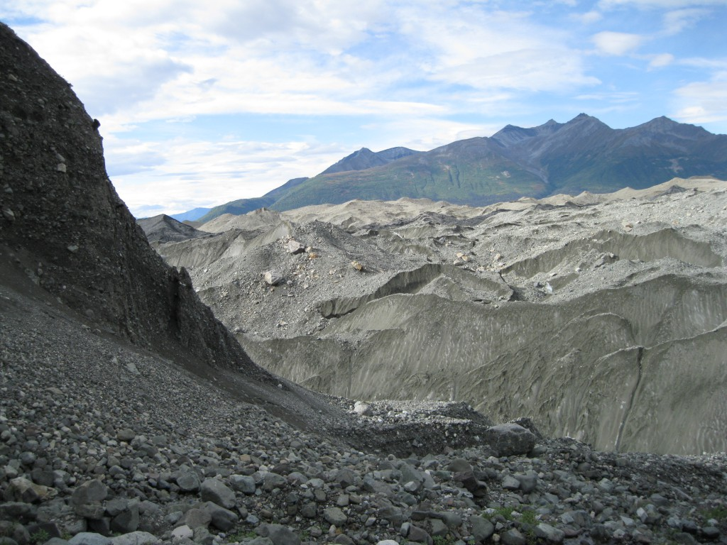 Root Glacier - note the gravel on top of the glacier