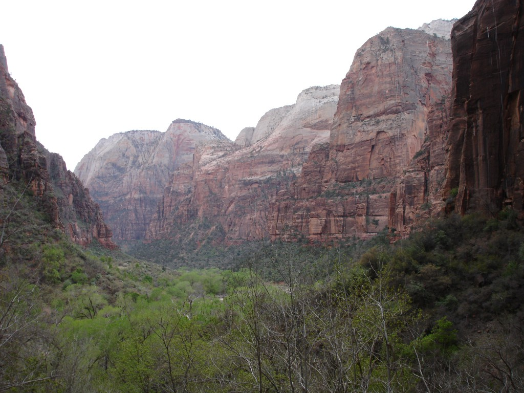 The View from the Weeping Rock alcove of Lady Mountain and Angels Landing