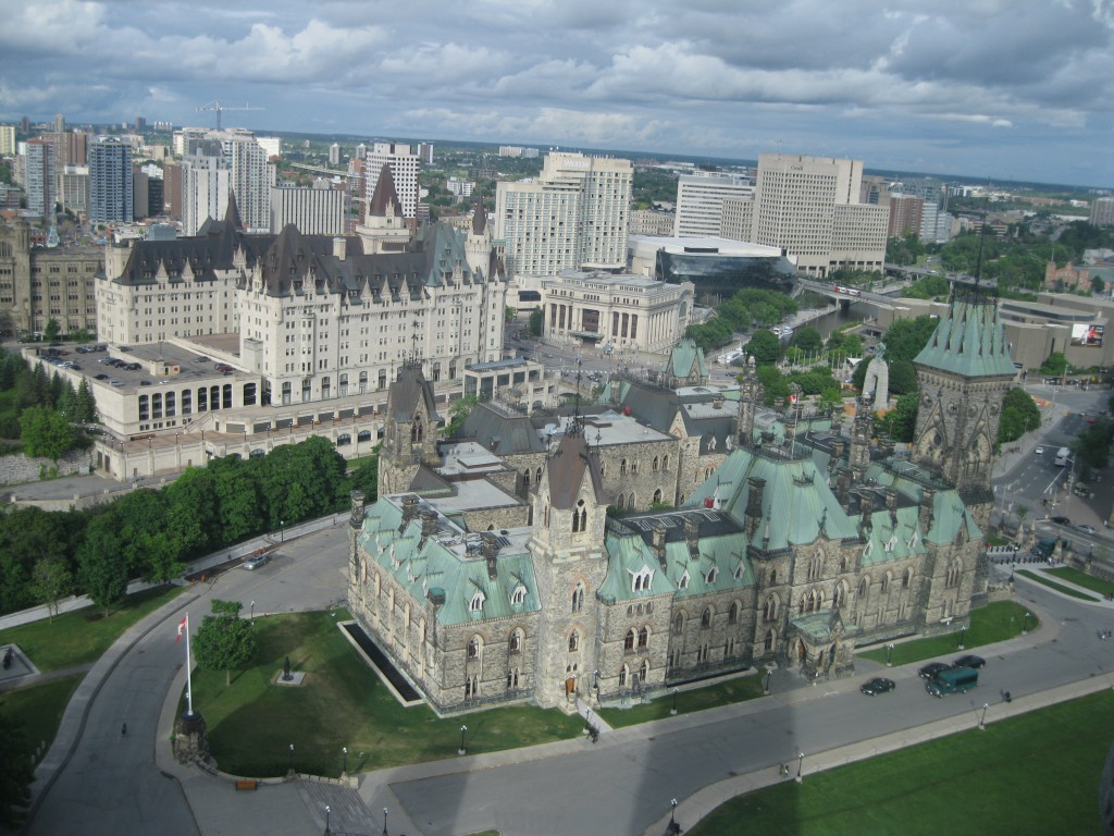 View from the Peace Tower of Chateau Laurier and the East Block