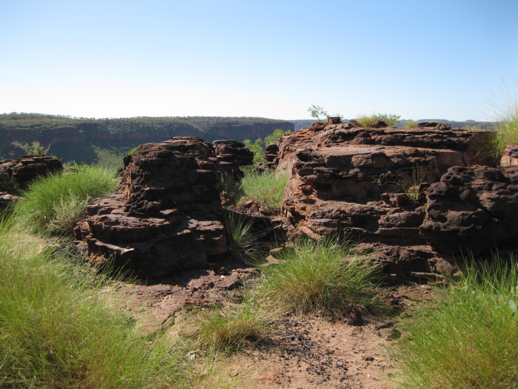 Rugged Rocks on the top of the Escarpment with the Mountain Ranges as a backdrop