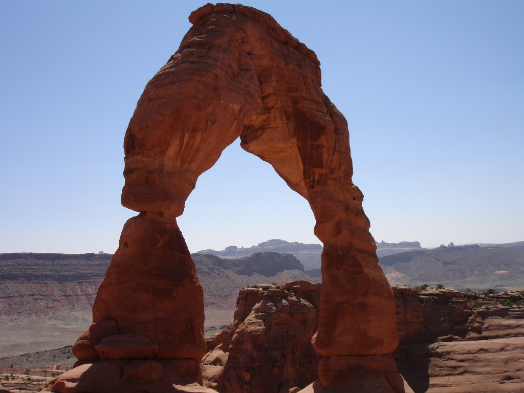 Delicated Arch up close with the La Sal Mountains as the backdrop