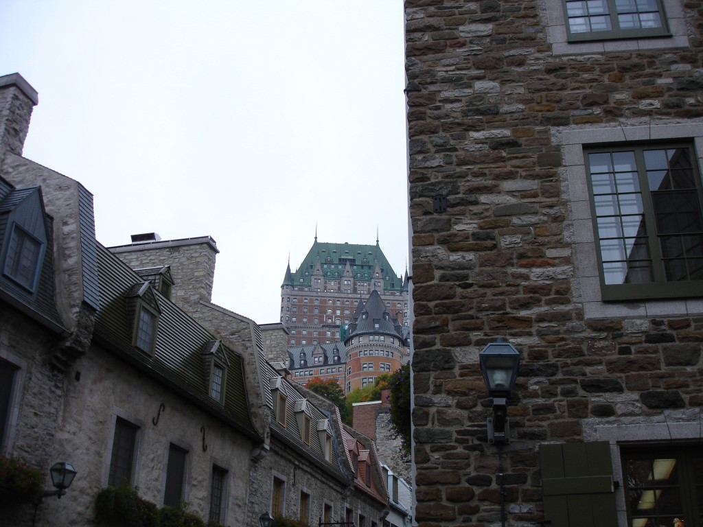 The Petit Champlain neighbourhood in Old Quebec and Château Frontenac as the backdrop