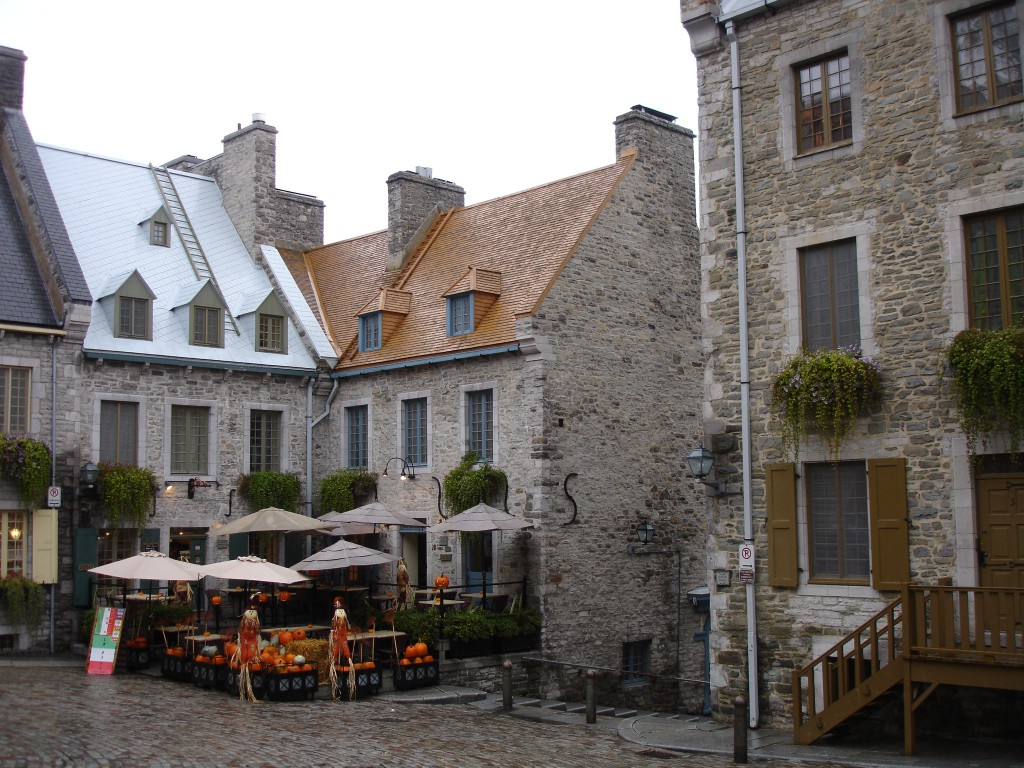 Charming stone buildings at Place Royale in Lower Town of Old Quebec
