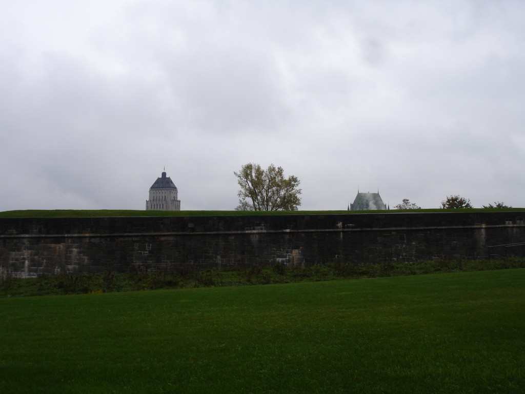 The Rampart with the top of the Price Building and the Château Frontenac as the backdrop