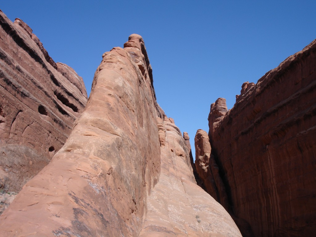 Massive Sandstone Fins at the point where you have to make the challenging cross to get to Double O Arch