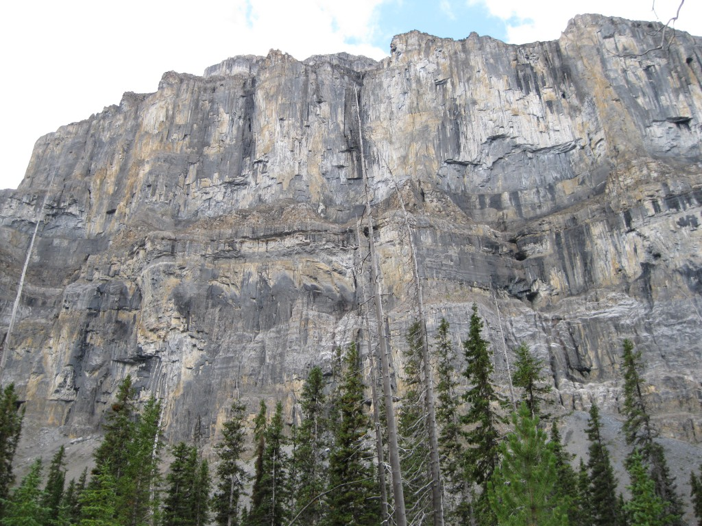 Massive rock wall on the left side of the valley going up on the Stanley Glacier Trail