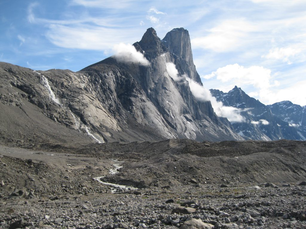 Mount Thor, moraines and streams