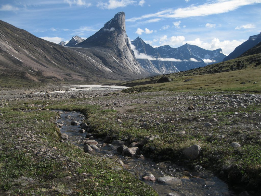 Mount Thor, the Weasel River and Akshayuk Pass and stream just before the moraine at Half Mile Creek