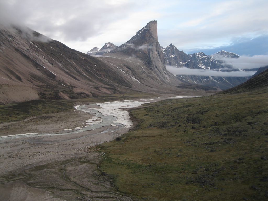 Mount Thor, the Weasel River and Akshayuk Pass seen from the very top of the moraine at Half Mile Creek