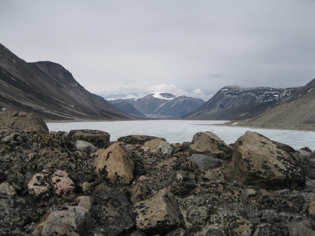 Highway Glacier in the centre, Mount Battle to the right at Summit Lake fronted by boulders