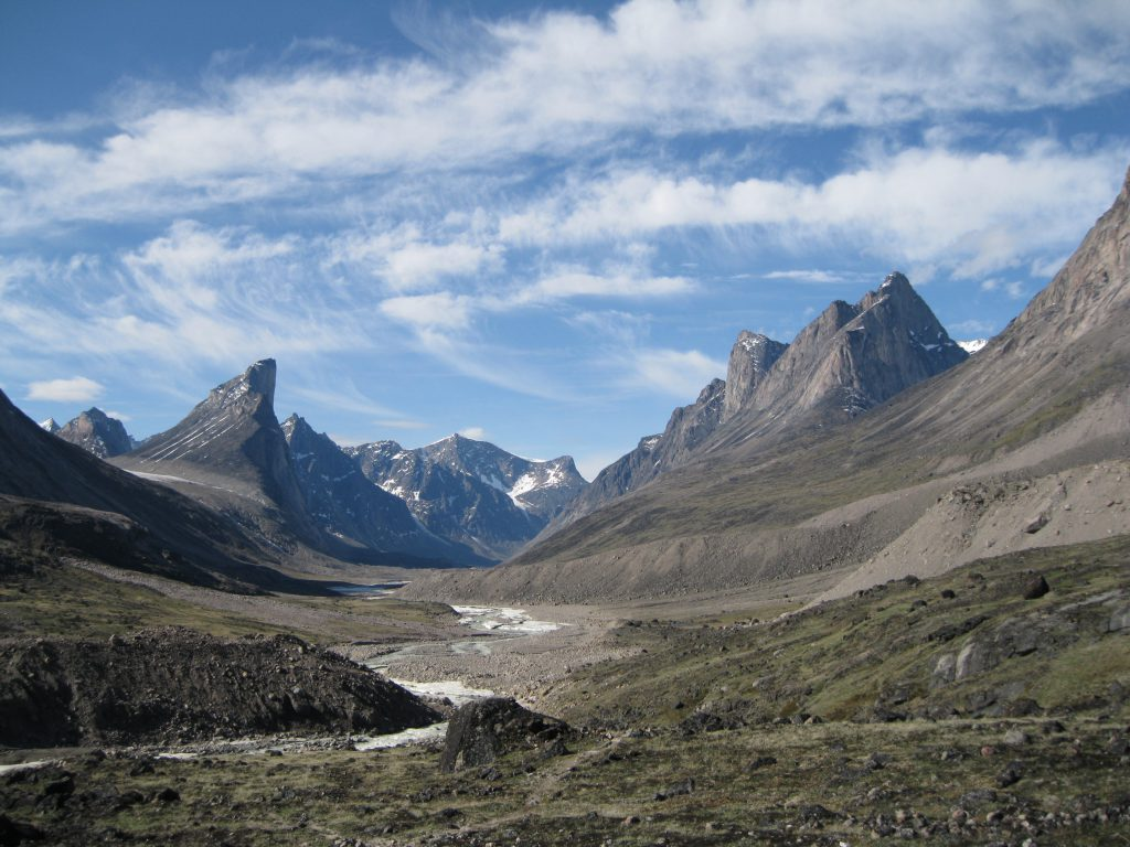 Mount Thor to the left, the Weasel River in the centre and Mount Northumbria to the right