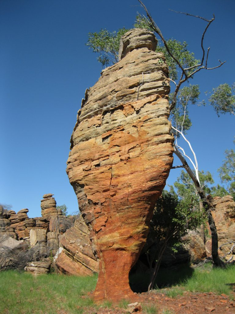 Rock pillar at the Loop Walk in the Southern Lost City. Note the extensive erosion at the bottom.